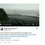 Daños en el espigón de Puerto de Vega por el fuerte oleaje