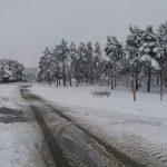 Nieve en la Casa del Puerto, en Tineo